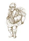 Papai Noel farpado que joga o saxofone Fotografia de Stock Royalty Free