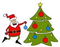 Papai Noel feliz com abeto. Imagem de Stock Royalty Free
