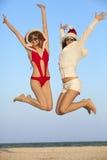 Papai Noel feliz que tem o divertimento Foto de Stock