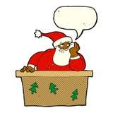 Papai Noel furado desenhos animados com bolha do discurso Imagens de Stock