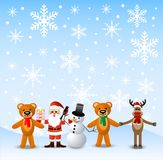 Papai Noel, homem da neve e animais, suporte sobre à neve Fotos de Stock Royalty Free