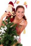 Papai Noel, mulher feliz nova Foto de Stock Royalty Free