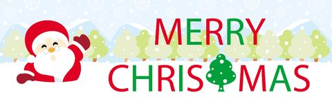 Papai Noel na neve com Feliz Natal dos gráficos do texto imagens de stock royalty free