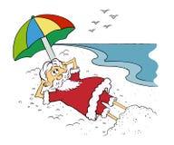 Papai Noel na praia, desenho dos desenhos animados ilustração do vetor