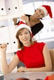 Papai Noel no escritório imagem de stock