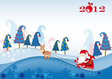 Papai Noel no sledge aproveitarado por um cervo Foto de Stock