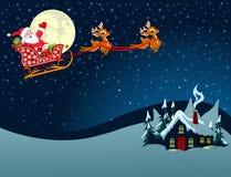 Papai Noel no trenó ilustração royalty free