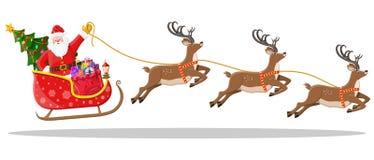 Papai Noel no trenó completamente dos presentes e das renas ilustração stock