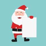 Papai Noel que guarda o papel vazio para seu texto ilustração do vetor