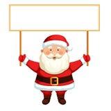 Papai Noel que prende um sinal em branco Imagens de Stock Royalty Free
