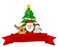 Papai Noel, rena e boneco de neve com fita vermelha Fotos de Stock