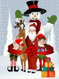 Papai Noel, Rudolph, duende e boneco de neve ilustração royalty free