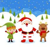 Papai Noel, Rudolph e duende ilustração royalty free