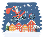 Papai Noel super que vem do céu com presentes de Natal Todos os elementos são mergulhados e agrupados no arquivo do vetor Fotos de Stock Royalty Free