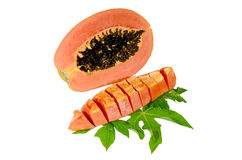 Papaia dolce sull'isolato. Fotografia Stock