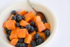 Papaia e mirtillo dell'insalata di frutta Fotografie Stock Libere da Diritti