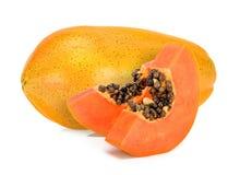 Papaia gialla isolata sui precedenti bianchi Fotografia Stock Libera da Diritti