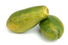 Papaia sopra bianco Fotografie Stock