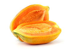 Papaia su fondo bianco Immagini Stock Libere da Diritti