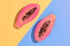 Papaja Tropisch Fruit Minimaal art Heldere kleur royalty-vrije stock afbeeldingen
