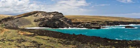 Papakolea (绿色沙子)海滩,大岛,夏威夷 免版税库存图片