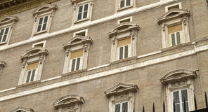 Papal Apartment Windows From St Peter's Square Royalty Free Stock Image