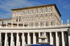 The Papal apartments in the Vatican city. VATICAN CITY - MARCH 12, 2016: The Papal apartments in the Vatican city is the place where Pope Francis I holds the royalty free stock images