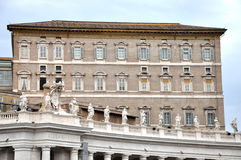The Papal apartments in the Vatican city. VATICAN CITY - MARCH 12, 2016: The Papal apartments in the Vatican city is the place where Pope Francis I holds the stock image