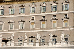 The Papal apartments in the Vatican city. VATICAN CITY - MARCH 12, 2016: The Papal apartments in the Vatican city is the place where Pope Francis I holds the royalty free stock photos