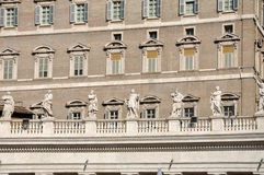 The Papal apartments in the Vatican city. VATICAN CITY - MARCH 12, 2016: The Papal apartments in the Vatican city is the place where Pope Francis I holds the royalty free stock photo