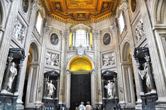 Papal Archbasilica of St. John Lateran, officially the cathedral of Rome. Baroque interior, entrance with the apostles statues. Stock Photography