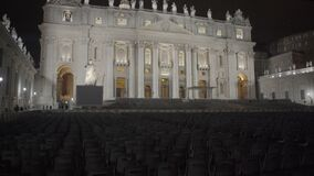 Papal audience eve in Vatican, large seating area outside Saint Peter's Basilica. Stock footage stock video
