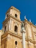 Papal Basilica Cathedral of Brindisi, Apulia, Italy. Madonna Pellegrina stare and Belfry of Papal Basilica Cathedral & x28;Pontificia Basilica Cattedrale della stock photos