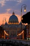 Papal Basilica of Saint Peter cathedral in Vatican. The Papal Basilica of Saint Peter cathedral in Vatican at dusk stock image