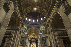 Papal basilica of Saint Peter in Vatican City, Vatican. Vatican City, Vatican - January 4, 2017: Interior of Papal basilica of Saint Peter in Vatican City royalty free stock photo