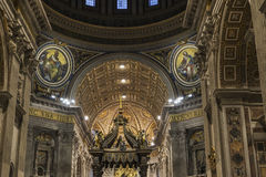 Papal basilica of Saint Peter in Vatican City, Vatican. Vatican City, Vatican - January 4, 2017: Interior of Papal basilica of Saint Peter in Vatican City stock images