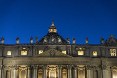 Papal basilica of Saint Peter in Vatican City, Vatican. Papal basilica of Saint Peter at night in Vatican City, Vatican royalty free stock images