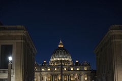 Papal basilica of Saint Peter in Vatican City, Vatican. Papal basilica of Saint Peter at night in Vatican City, Vatican stock photo