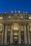 Papal basilica of Saint Peter in Vatican City, Vatican. Papal basilica of Saint Peter at night full of tourists in Vatican City, Vatican royalty free stock photos