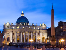 The Papal Basilica of Saint Peter in the Vatican. Night scene. Stock Image
