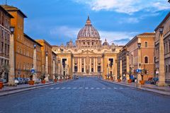 The Papal Basilica of Saint Peter in Vatican street view. View from Rome, Italy royalty free stock photos
