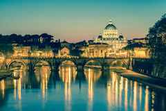 The Papal Basilica of Saint Peter in the Vatican with vintage fi. The Papal Basilica of Saint Peter in the Vatican (Basilica Papale di San Pietro in Vaticano royalty free stock photography