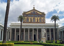 The papal basilica San Paolo fuori le Mura in Rome. The papal basilica San Paolo fuori le Mura with grave of Saint Paul in Rome. Is one of 4 papal basilicas. In stock images