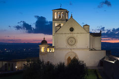 The Papal Basilica of St. Francis of Assisi. After sunset (Assisi, Umbria, Italy Royalty Free Stock Photo