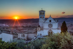 Papal Basilica of St. Francis of Assisi at sunset. The Papal Basilica of St. Francis of Assisi at sunset Assisi, Umbria, Italy royalty free stock image
