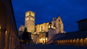 The Papal Basilica of St. Francis of Assisi. A view of Saint Francis cathedral in Assisi at christmas time stock image