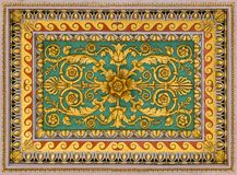 Golden floral decoration from the ceiling of the Basilica of Saint Paul Outside the Walls, in Rome. royalty free stock photo