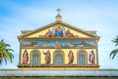Basilica of Saint Paul outside the walls in Rome, Italy. The Papal Basilica of St. Paul outside the Walls, commonly known as St. Paul`s outside the Walls, is Stock Photos