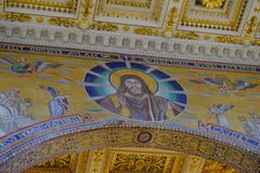 Papal Basilica of St. Paul outside the Walls in Rome. Rome, Italy - August 12, 2017: Interior of the Papal Basilica of St. Paul outside the Walls, one of Rome`s stock images
