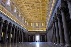 Papal Basilica of St. Paul outside the Walls in Rome. Rome, Italy - August 12, 2017: Interior of the Papal Basilica of St. Paul outside the Walls, one of Rome`s stock photos
